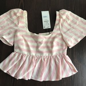 Zara pink striped top